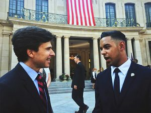 Tyler Langhorn '17 speaks with the US ambassador in Prague