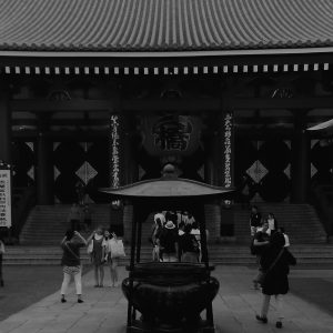 Senso-Ji in front of the temple and incense burner