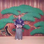 In my dragon yukata on the main stage of the Keita School.