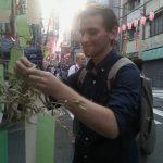 Making a wish at the Tanabata Festival.
