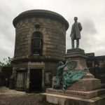 A war memorial for Scottish American Soldiers directly next to the gravesite of David Hume.
